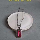 少见的天然红宝石925银吊坠项链