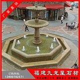 石雕水钵加工厂家 黄锈石喷泉 石材喷水池报价