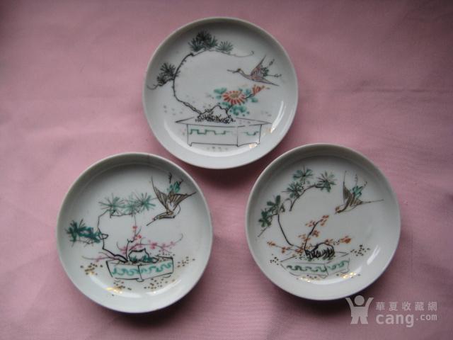 三个民国名家作的花鸟小瓷碟