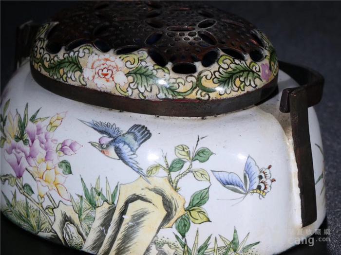 回流 铜胎珐琅彩小手炉室内香熏炉