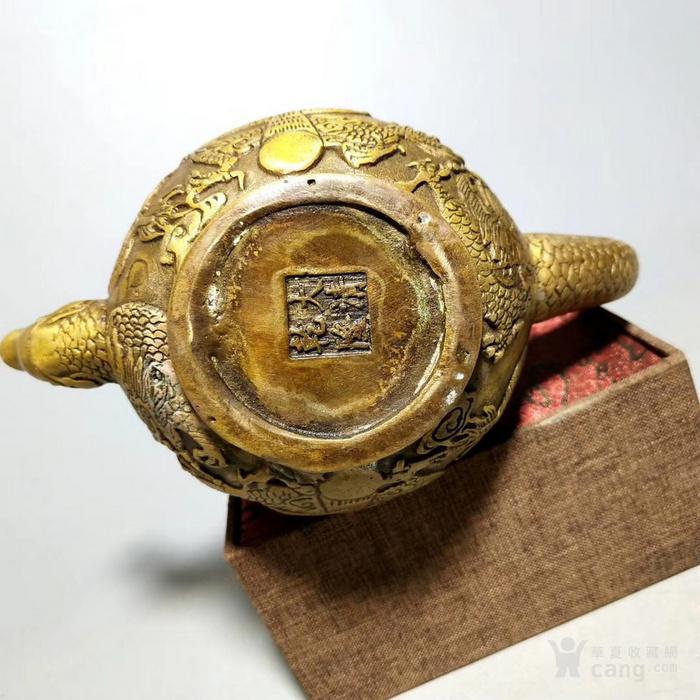 铜鎏金龙把壶