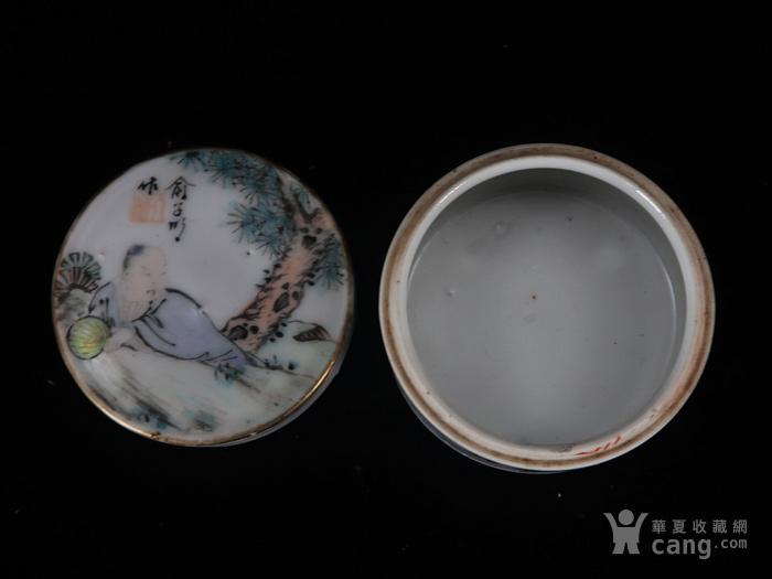 清代俞子明作浅绛人物绘画印泥盒