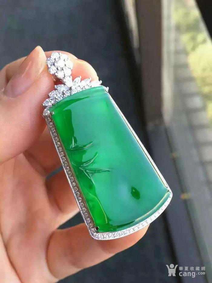 缅甸翡翠冰玻种阳绿��高升