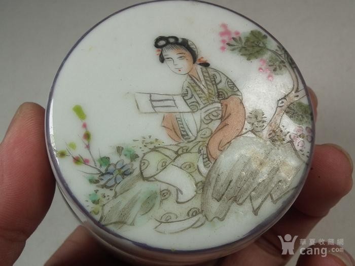 老粉彩仕女图大圆瓷盒图4