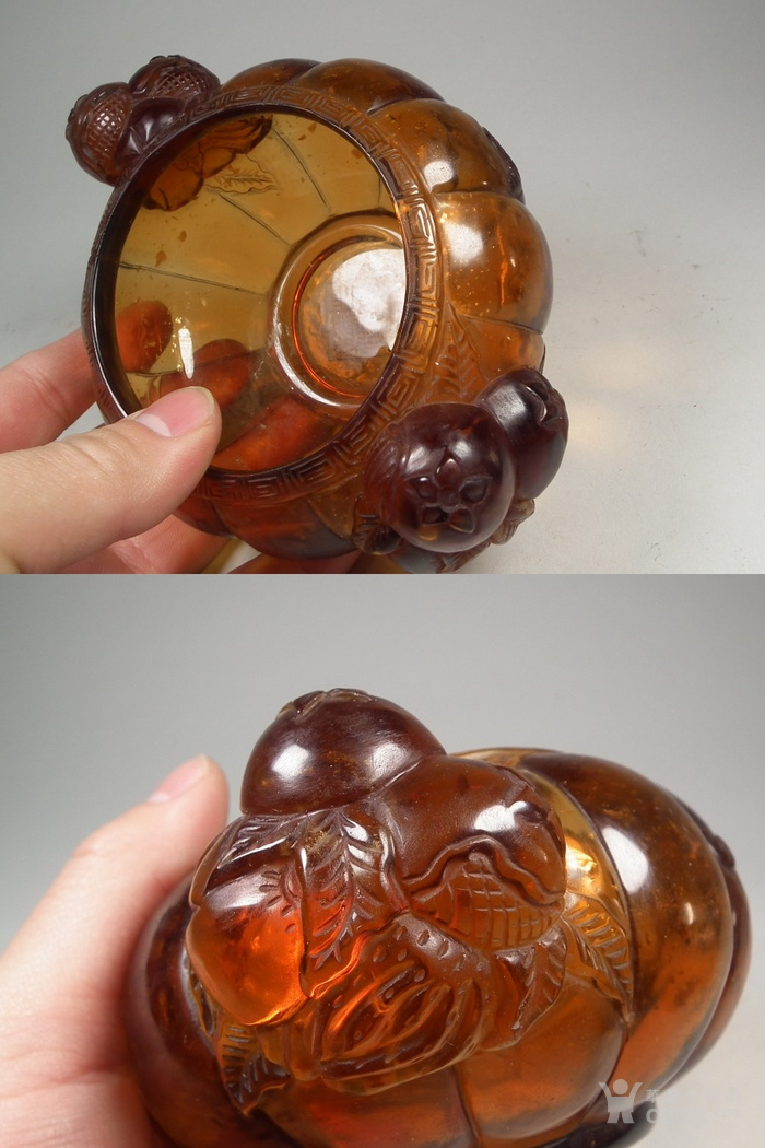 琥珀色琉璃瓜果双耳葵瓣大碗一只图8