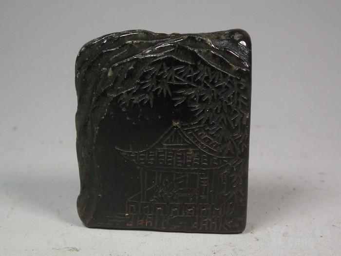 老坑碧玉色寿山石山水庭院小方印章图1