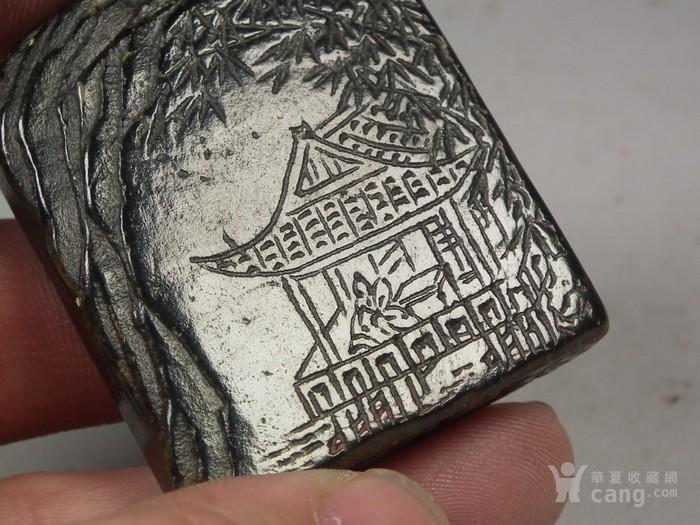 老坑碧玉色寿山石山水庭院小方印章图8
