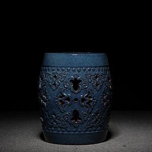 出口创汇时期 70.80年代 宜兴 蓝釉 紫砂 绣墩一只