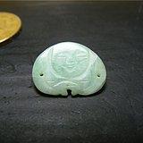 清代老坑A货淡绿色翡翠单面工双孔弥勒佛公老帽饰