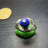 正宗新工925银收缩式镶天然原矿青金石戒指一枚