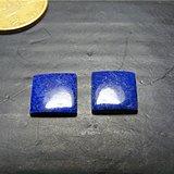 回流之物 几十年的天然青金石厚实正方形镶嵌件一对