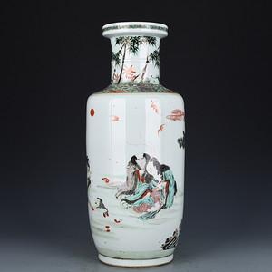 瓷器 五彩刘海戏金蟾人物棒槌瓶