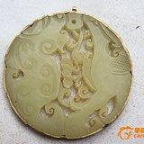 和田包银玉佩5.6X5.7X0.5厘米