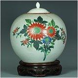 古玩古董真古瓷!全网最低价!民国纯手绘花卉西瓜罐