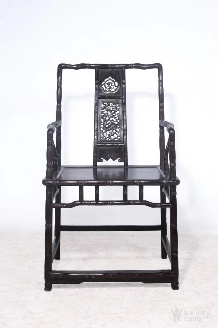 竹节纹南官帽椅一对带几
