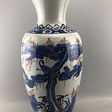 青花松鹤大瓷瓶A0107