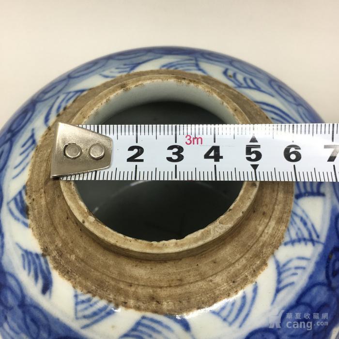 清中期青花缠枝花卉桌面罐