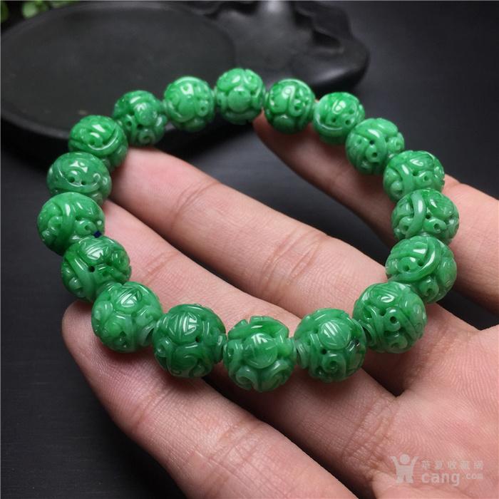 玉泉文玩c528创汇期糯冰种满阳绿翡翠精雕团寿龙纹手串