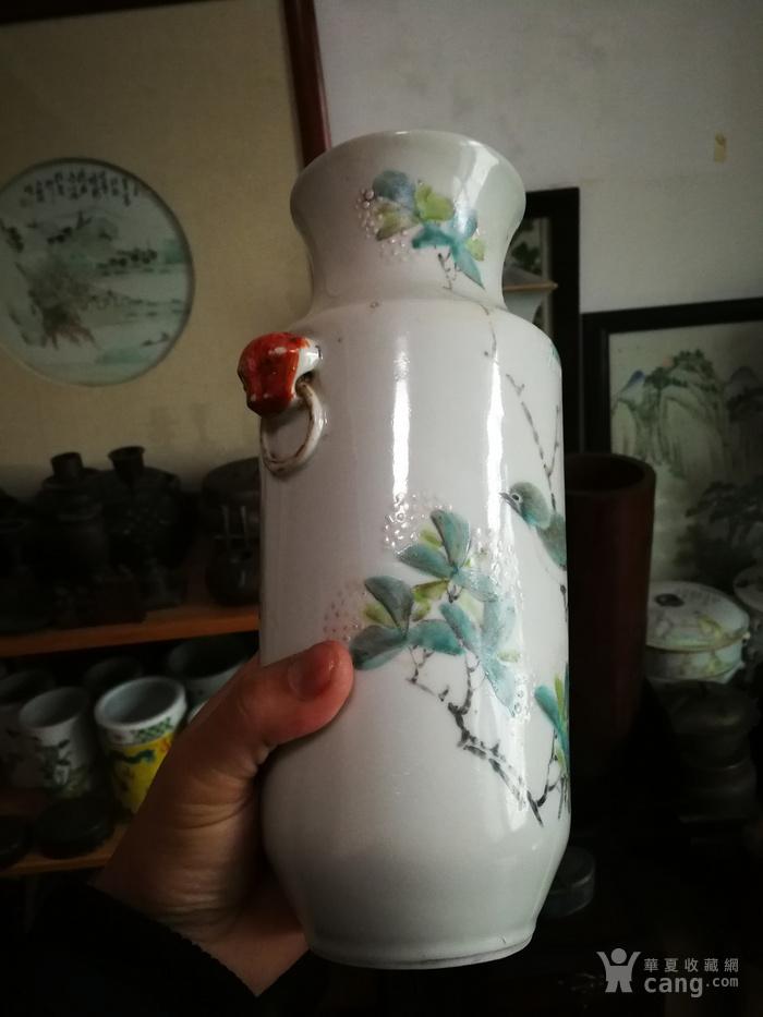 1883年早期浅绛名家  清雅精致花鸟瓶