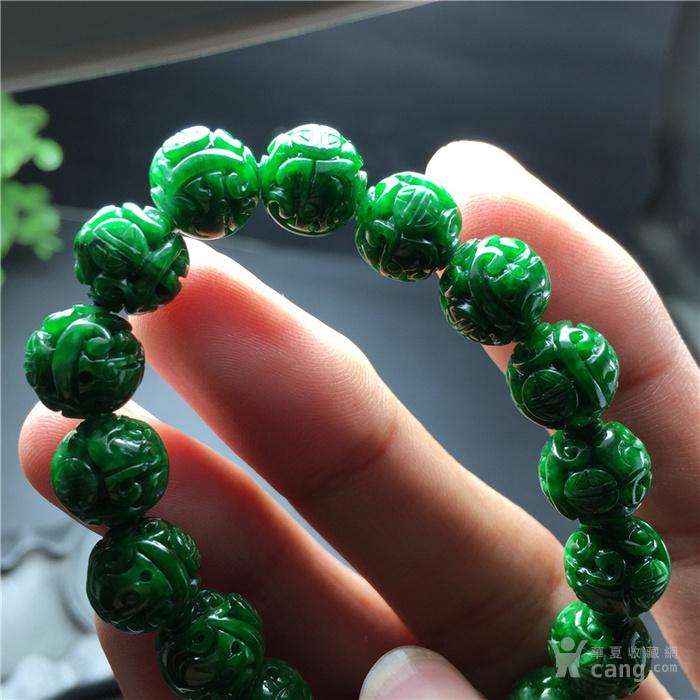 玉泉文玩c544创汇期糯冰种满阳绿翡翠精雕团寿龙纹手串
