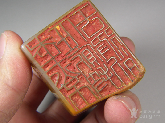 老黄色寿山石高浮雕卧兽带款大方印章图4