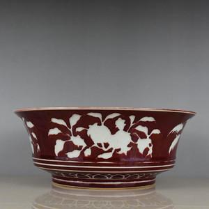 瓷器 宝石霁红釉留白折枝硕果花鸟盘