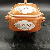 精细珊瑚红釉描金开框粉彩花鸟方形暖锅