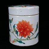 清代粉彩花卉绘画鸦片罐