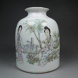 老粉彩描绘仕女图大酒瓶