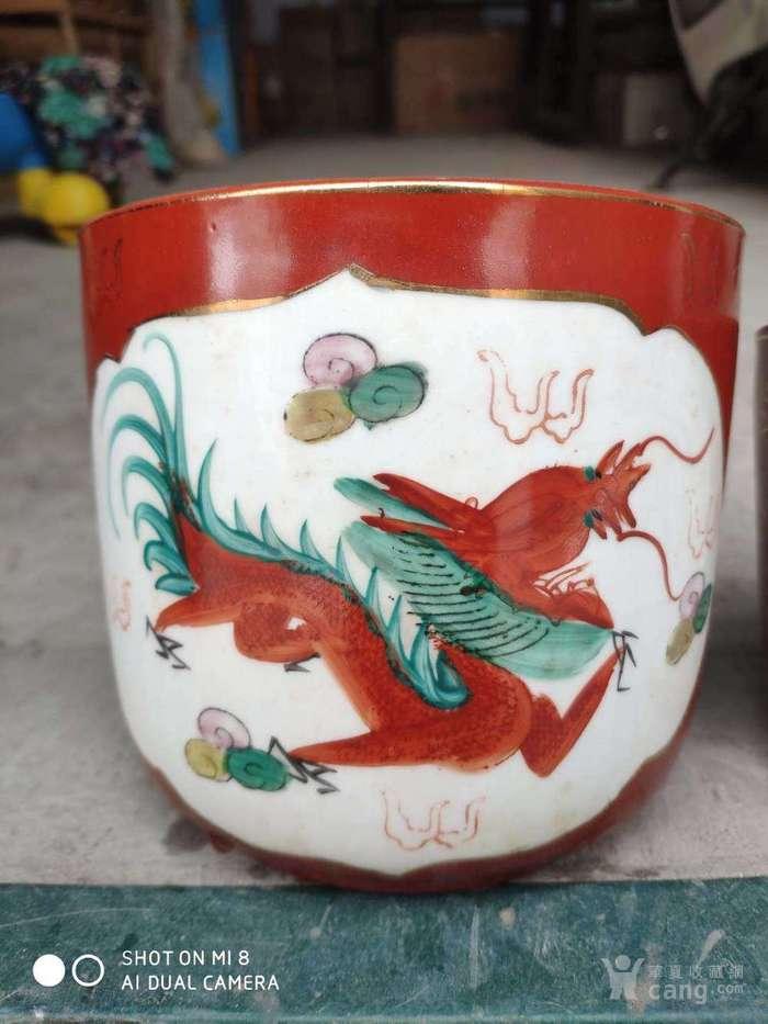 七八十年代出口瓷香炉,纯手绘龙凤大中小三件套