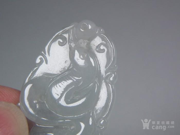 近现代a货冰种淡色翡翠单面工浮雕生肖蛇  带证书图3