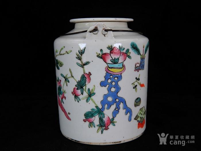 清代粉彩清供绘画提梁壶