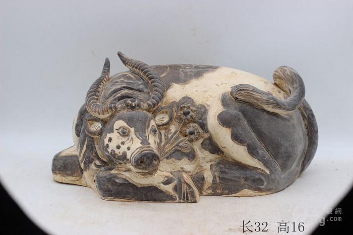 磁州窑白底黑釉牛