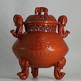 清中期  珊瑚红釉太平有象镂空大香炉