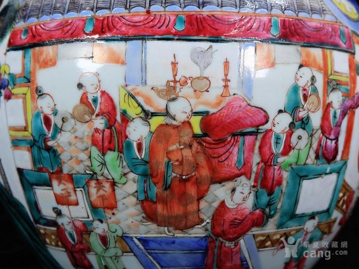 清代粉彩百子龙灯绘画西瓜罐