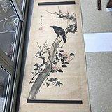 清代原装裱裱大幅花鸟图中堂挂轴