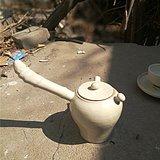 顶级定窑刻花异形茶壶