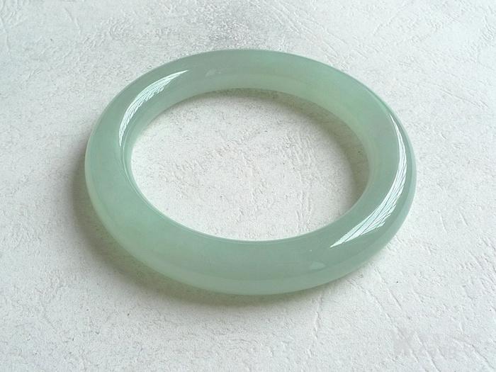 润玉楼 天然A货翡翠  0309 冰种圆条手镯 55.5mm