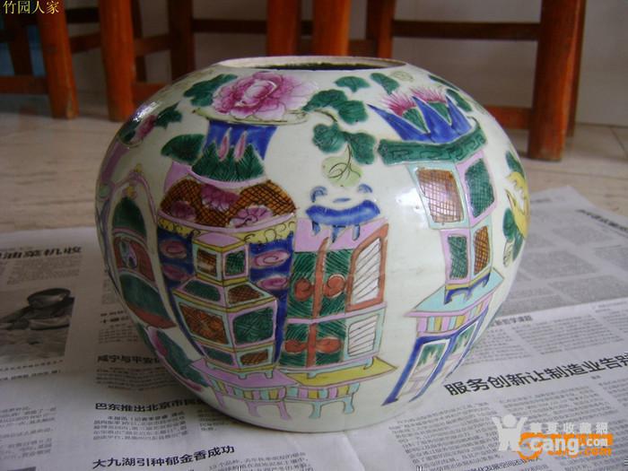 清同治 红店粉彩 博古 罐