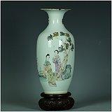 绝对真品!名家范子楠的真古董!光绪年二美游春图粉彩诗画花瓶