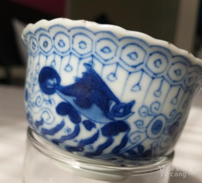 清代早期 康熙青花茶杯 非海捞