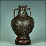 绝对真品!拆迁老城区收来的古玩!民国浮雕花卉双耳锡制花瓶