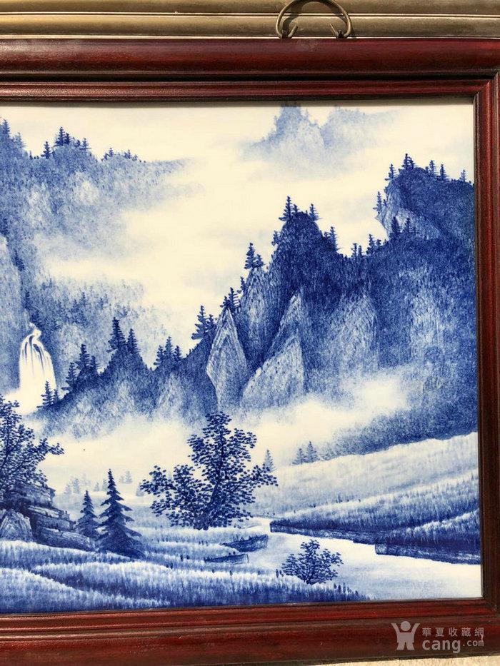 红木镶嵌青花山水山乡晴雲图纹四条挂屏瓷板画