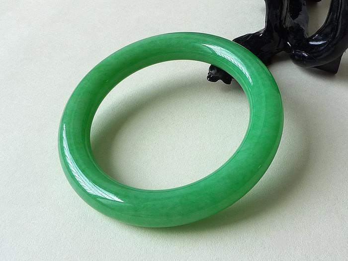 润玉楼 天然A货翡翠  0314 满绿圆条翡翠手镯 58mm