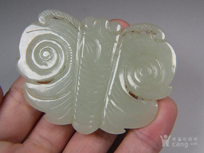 和田青白玉单面工浮雕蝴蝶大玉佩