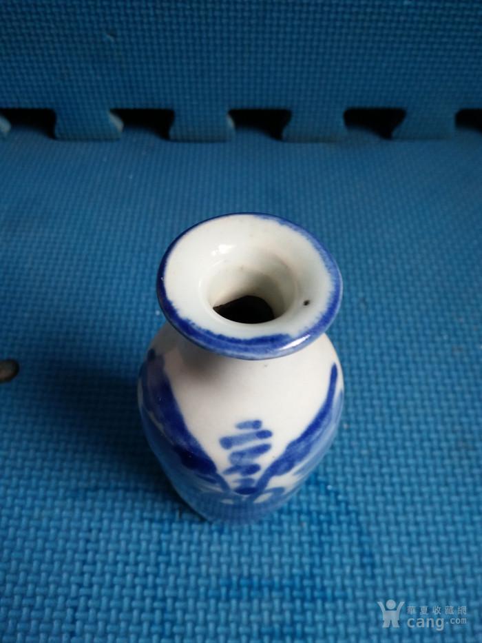 清抽像青花山水小瓶
