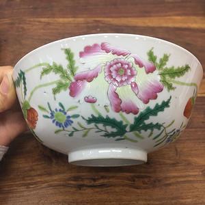 清雍乾粉彩花卉纹碗