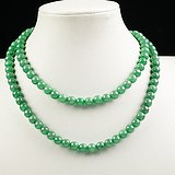 缅甸翡翠好种满绿108颗珠链81.94g