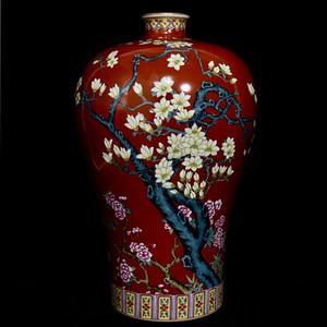 瓷器 矾红粉彩玉兰花卉梅瓶