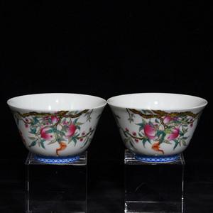瓷器 粉彩福寿桃纹杯